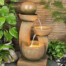 U shaped 3 bowl with sphere water feature