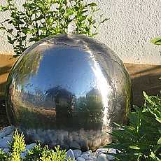 Aterno6 - 60cm Diameter Polished Stainless Steel Sphere Water Feature With LED Lights