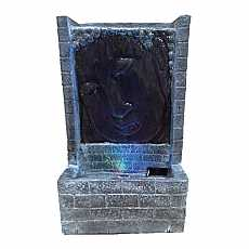 Grey Buddha Face with Brick Water Feature by Aqua Creations