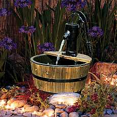 Solar Powered Newcastle Wooden Barrel With Pump Garden Water Feature With LED