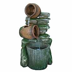 2 Pots with Bucket on Slate Water Feature by Aqua Creations