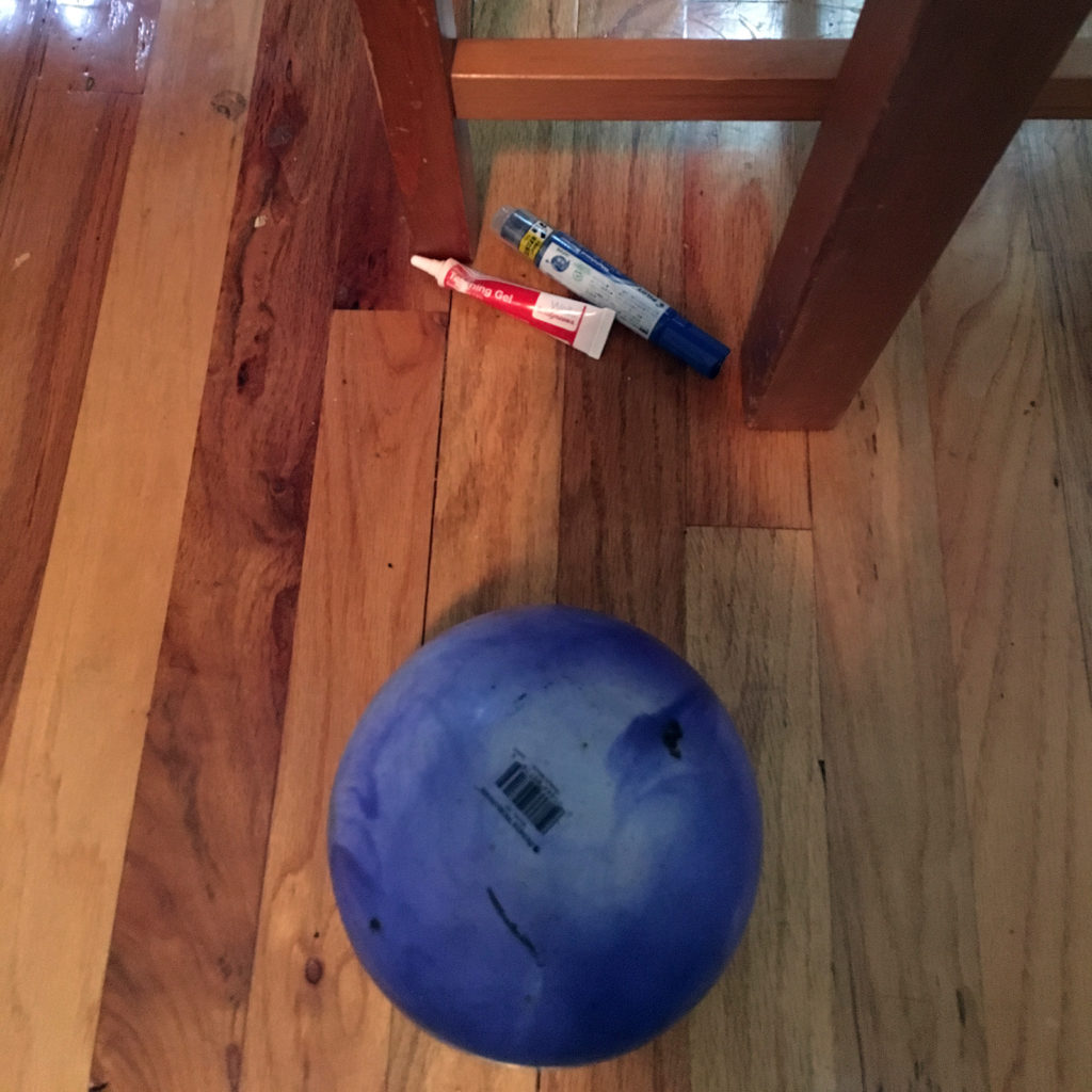 Blue ball, teething gel, dry erase marker