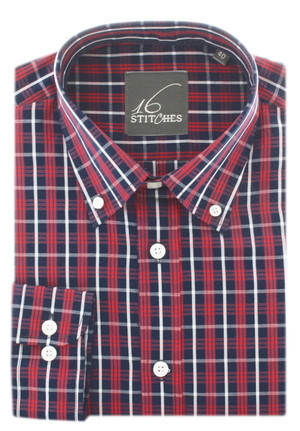 Navy Blue / Red Casual Plaids