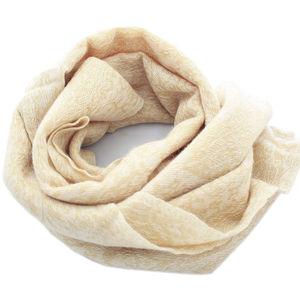 Beige Paisley Cashmere Scarf