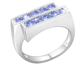 Tanzanite Double Row 10 Stone Ring