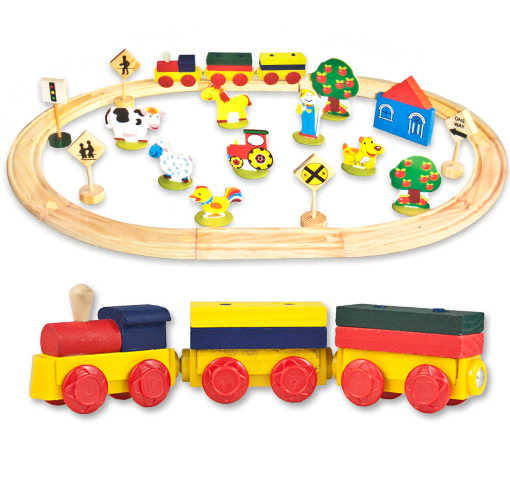 38-Pc. Wooden Train Set