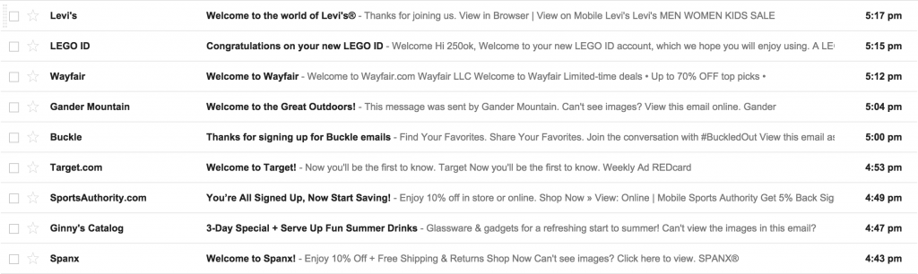 Inbox header text sample