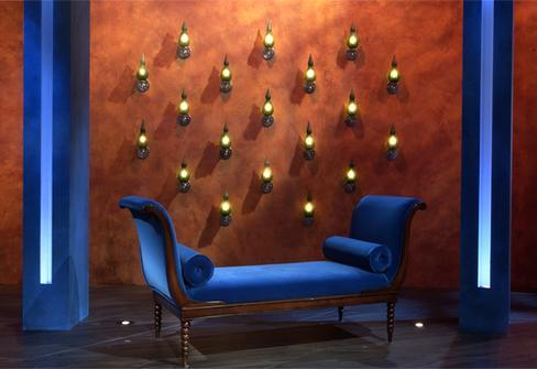 Plush Blue Chaise Lounge with Majorca Sconce Wall