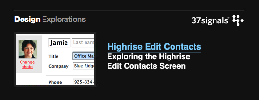 Design Explorations: Highrise Edit Contacts