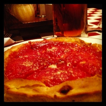 Giordano's pizza and a pint of 312, can't get more Chicago than this meal.