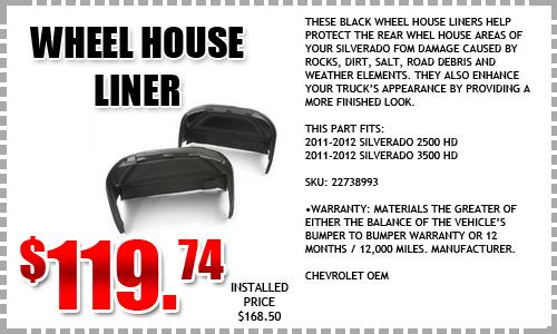 Chevy Silverado Wheel House Liner Special Portland
