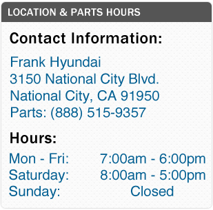 Frank Hyundai Parts Department Hours, Location, Contact Information
