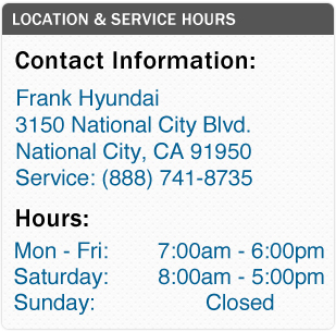 Frank Hyundai Service Department Hours, Location, Contact Information