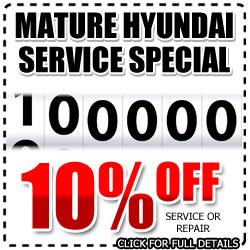 San Diego Hyundai 100,000 Mile Service Discount, Mature Repair Special, National City, California
