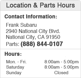 Frank Subaru Parts Center Hours of Operation &  Location