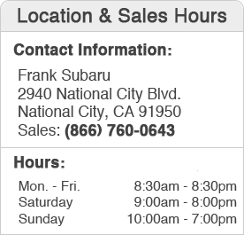 Frank Subaru Sales Department Hours, Location, Contact Information