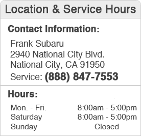 Frank Subaru Service Center Hours, Location, and Contact 