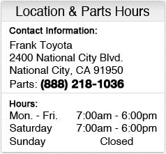Frank Toyota's Parts Department Hours, Location, Contact Information