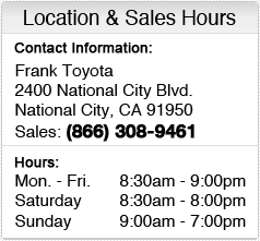 Frank Toyota Sales Department Hours, Location, Contact Information