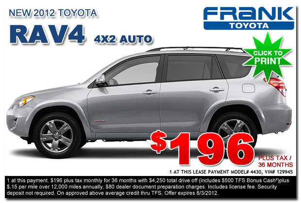 New 2012 Toyota RAV4 Lease Special serving San Diego County, California