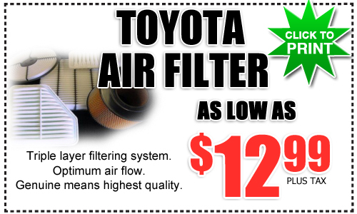 Genuine toyota air filter coupon san diego county auto for Frank motors national city