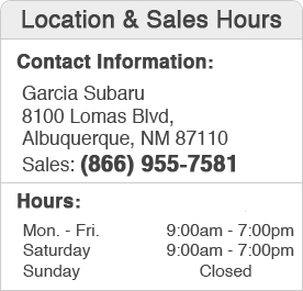 Garcia Subaru Sales Department Hours, Location, Contact Information