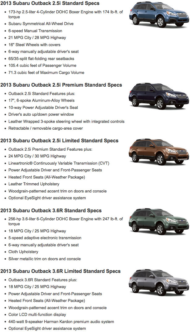 2013 Subaru Outback Vehicle Specifications & Features ...