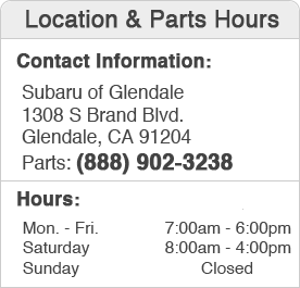 Subaru of Glendale Parts Hours and Location California