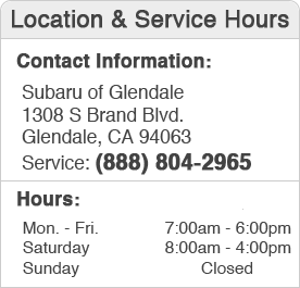 Subaru of Glendale Service Department Hours, Location, and Contact Information