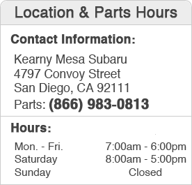 Kearny Mesa Subaru Parts Department Hours, Location, Contact Information