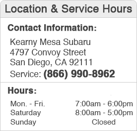 Kearny Mesa Subaru Service Department Hours, Location ,Contact  Information