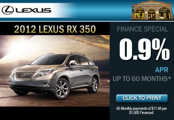 New 2012 Lexus RX 350 Financing Special at Lexus Santa Monica in California