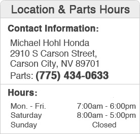 Michael Hohl Honda's Parts Department Hours, Location, Contact Information