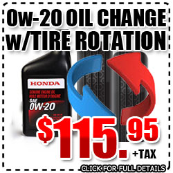 Honda Synthetic 0w-20 Oil & Filter Change Service Special with Tire Rotation in Carson City, Nevada