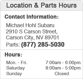 Michael Hohl Subaru's Parts Department Hours, Location, Contact Information