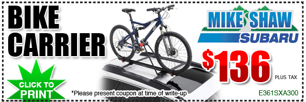 Genuine Subaru Roof Mount Bike Carrier Parts Discount Coupon, Denver, Colorado