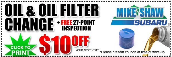 Subaru Oil Change & Oil Filter Change Service Special & Discount Coupon serving Denver, Colorado
