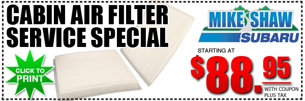 Subaru Cabin Air Filter Replacement Service Special at Mike Shaw Subaru in Denver, Colorado