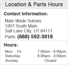 Nate Wade Subaru Parts Hours and Location Salt Lake City, Utah