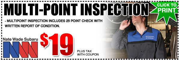Salt Lake City Subaru Multi-Point Inspection Service Special Discount Coupon