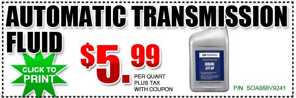 Subaru ATF-HS / PS Fluid Discount Coupon, California