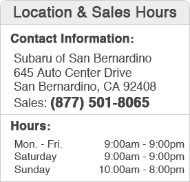 Subaru of San Bernardino Sales Department Hours, Location, Contact Information