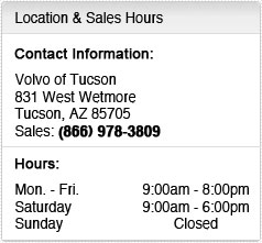Volvo of Tucson Sales Department Hours, Location, Contact Information