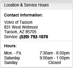 Volvo of Tucson Service Department Hours, Location, Contact Information