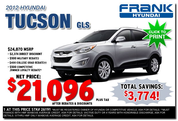 New 2012 Hyundai Tucson Lease Sales Special Offers San Diego