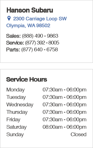 Hanson Subaru Service Department Hours, Location, Contact Information