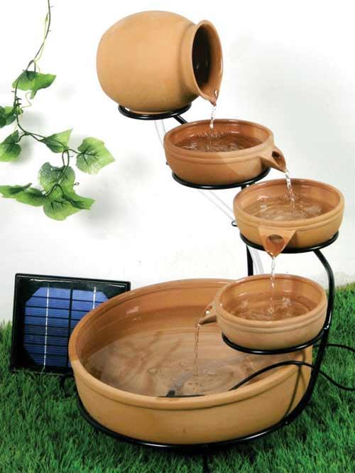 terracotta cascade solar powered