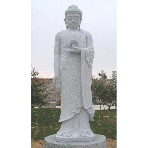 Granite Buddha on Lotus Flower Pedestal Sculpture
