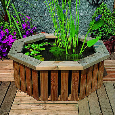 Medium wooden deck pond garden water feature for Garden decking features