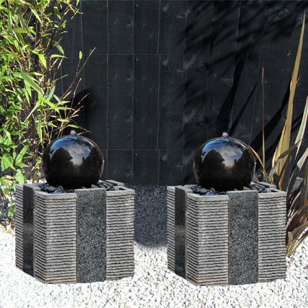 Doppio Drava by Aqua Moda Granite Water Feature With LED Lights